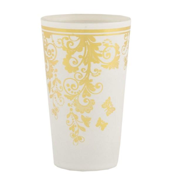 Vaso cristal blanco arabesco dorado