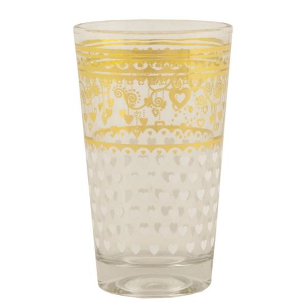 Vaso cristal transparente arabesco y corazones dorado