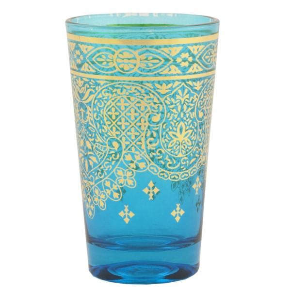 Vaso cristal azul turquesa arabesco dorado