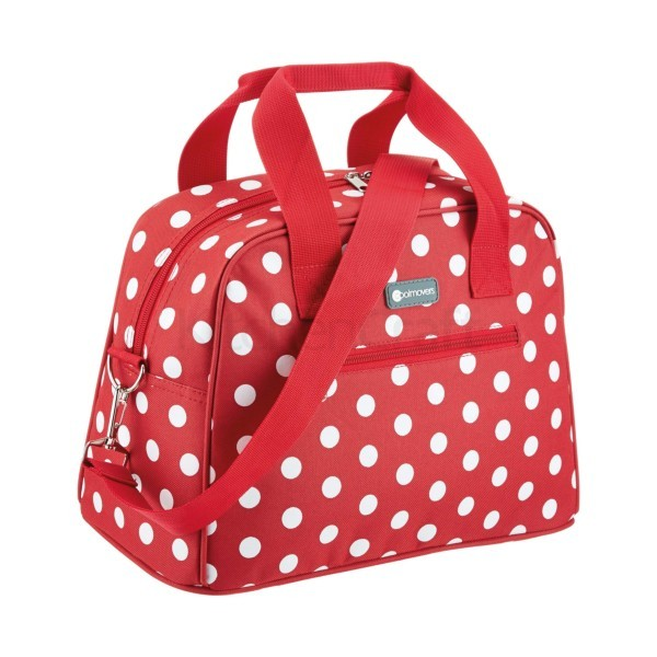 Red polka holdall style cool bag