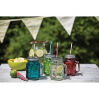 Coloured glass drinks jar with straw