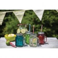 Le verre coloré boissons jar avec de la paille
