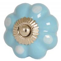 Tirador antiguo porcelana azul claro y topos blancos