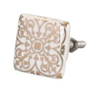Tirador romántico porcelana cuadrado dibujo dorado