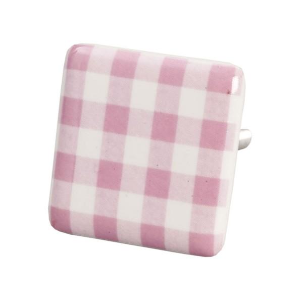 Tirador retro porcelana cuadrado blanco y rosa