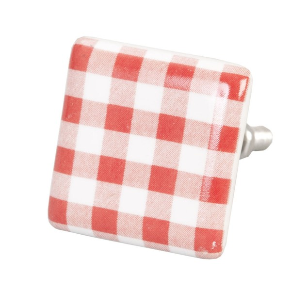 Tirador retro porcelana cuadrado blanco y rojo