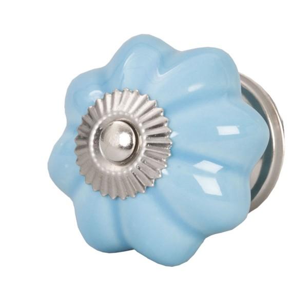 Tirador antiguo porcelana azul liso