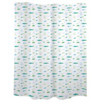 Blue and green fish shower curtains