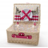 Cesta picnic beige con lunares colores con cubiertos para 4 personas 40x30x18 cm