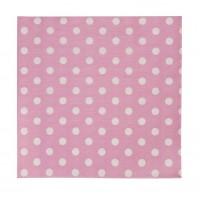 Serviettes en papier roses avec pois blancs