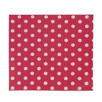 Red paper napkins with white polka dots