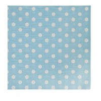 Blue paper napkins with white polka dots