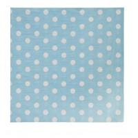 Serviettes en papier bleu avec pois blancs