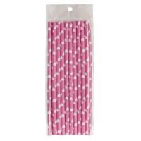 Pajitas de papel rosas con corazones blancos