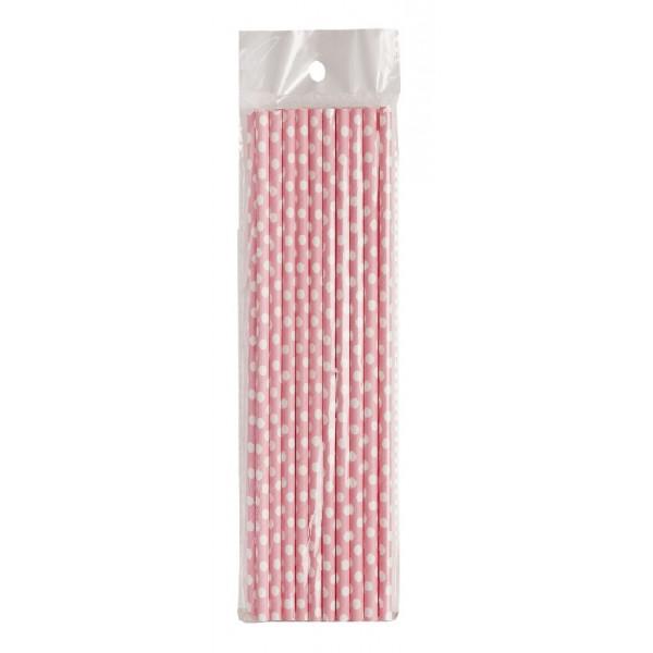 Pajitas de papel rosas con lunares blancos