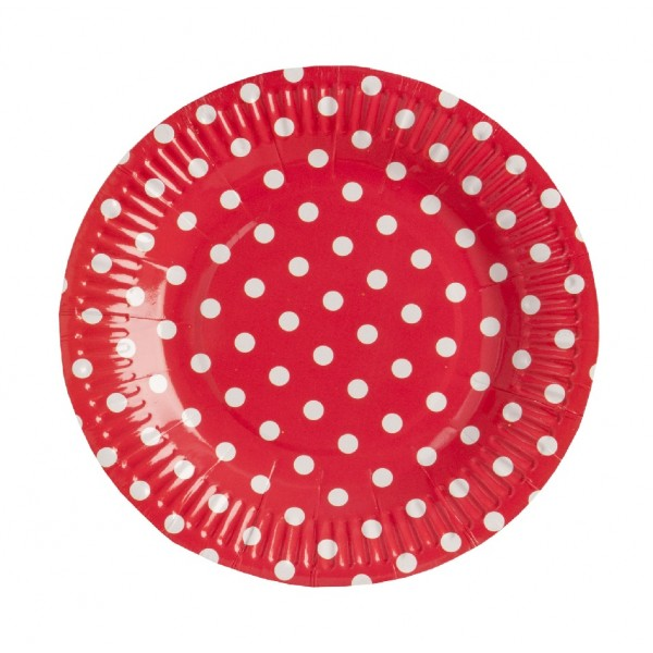 Red round paper plates with white polka dots