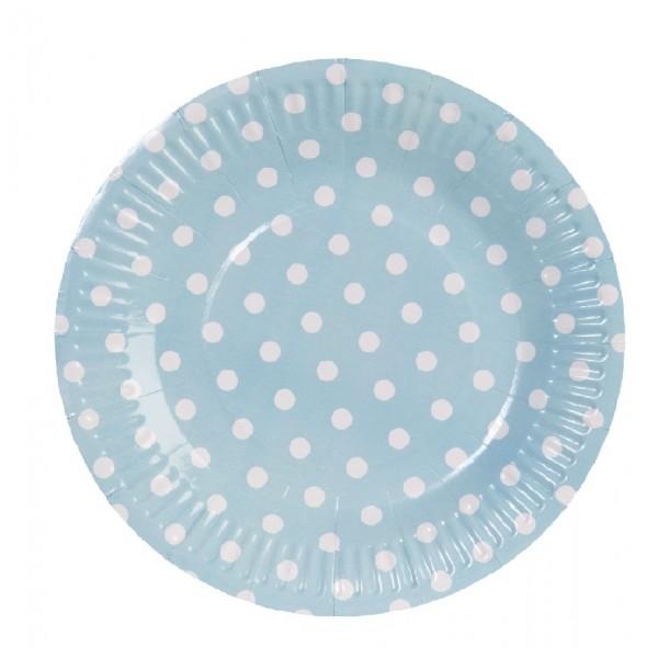 Piatti di carta blu rotonde con pois bianchi