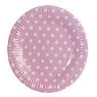 Pink round paper plates with white polka dots