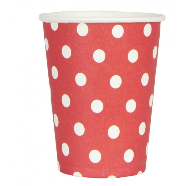 Red paper cups white polka dots.