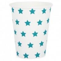 Bicchieri di carta bianche con stelle blu