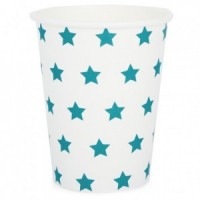 white paper cups with blue stars