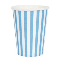 White paper cups with blue stripes