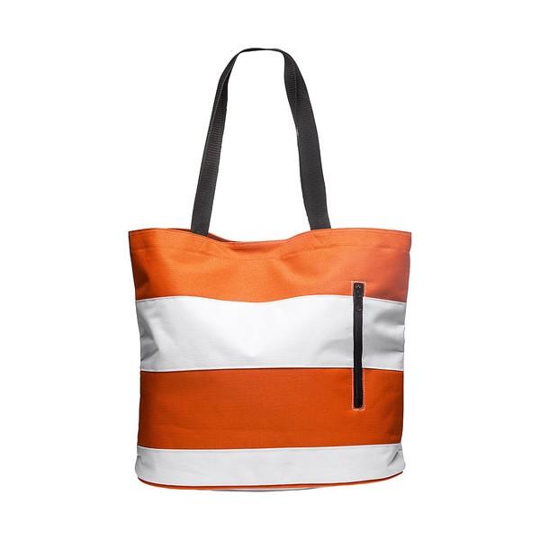 Beach bag orange and white stripes