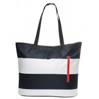 Beach bag blue and white stripes