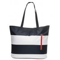 Rayé bleu et blanc sac de plage