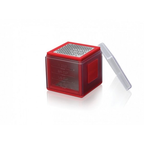 Red Microplane 3-in-1 cube grater