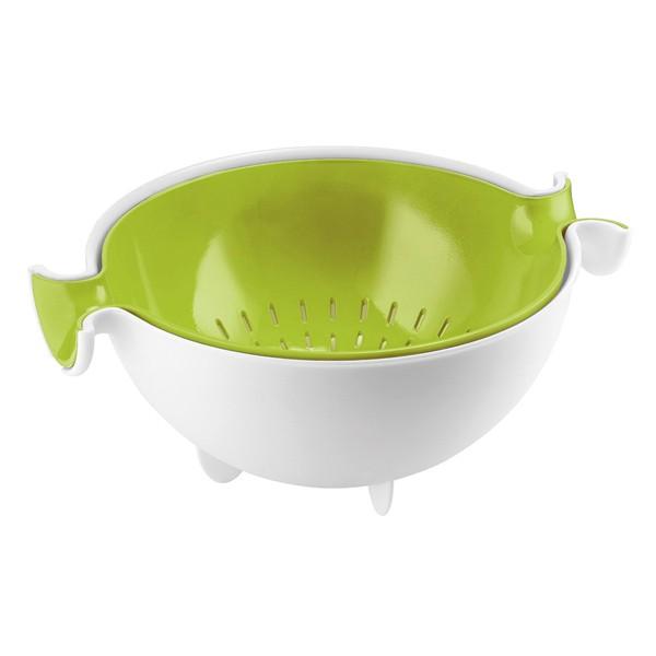 Juego de colador con recipiente verde/blanco Guzzini