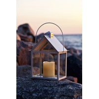 Led metal candle lantern house