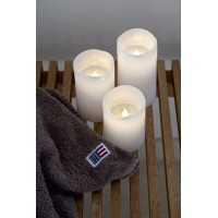 Set 3 velas cera color blanco con luz led