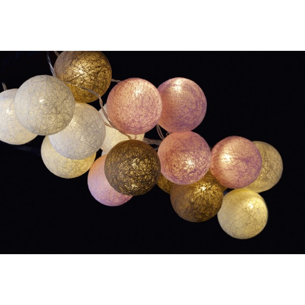 Garland wire led balls pastel colored