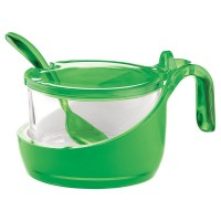 Zuccheriera bicolor verde con cucchiaino Guzzini