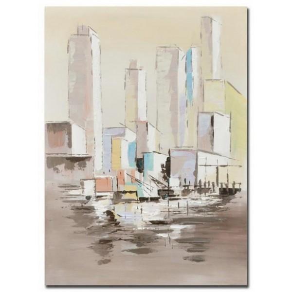 Lienzo cuadro paisaje edificios ciudad tonos claros 50x3x70 cm 2 modelos