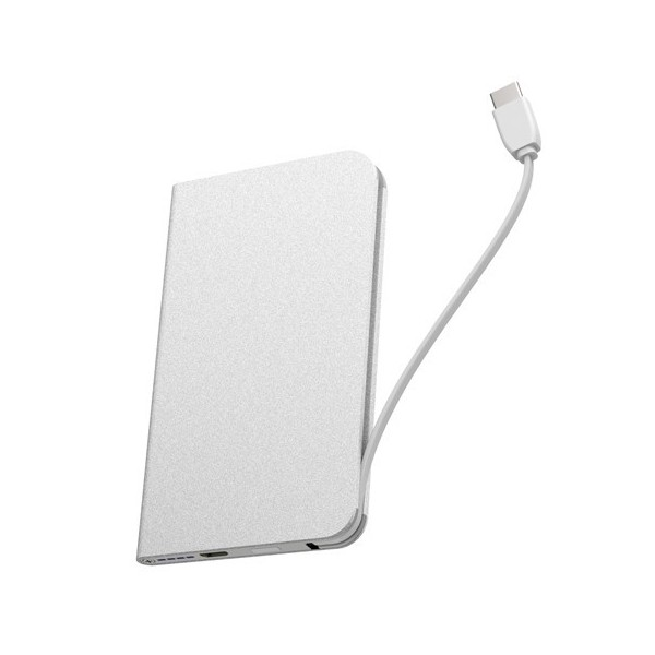 Portable external battery skinny silver