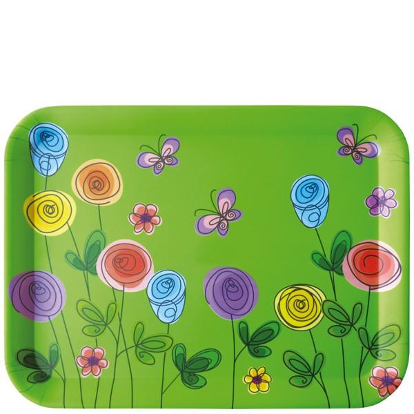 Bandeja de mesa Flores y mariposas 43x32 cm