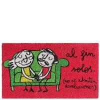 """Paillasson rouge """"Al fin solos"""" 70x40 cm"""