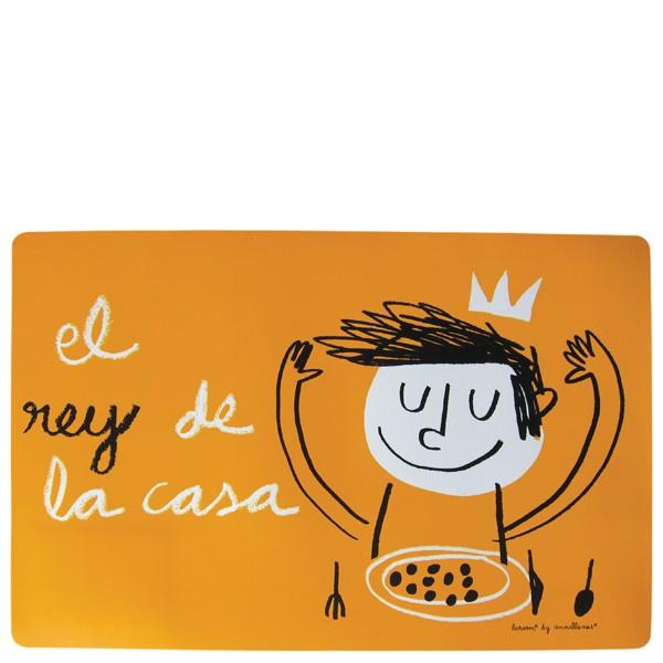 """Orange placemat """"El rey de la casa"""""""