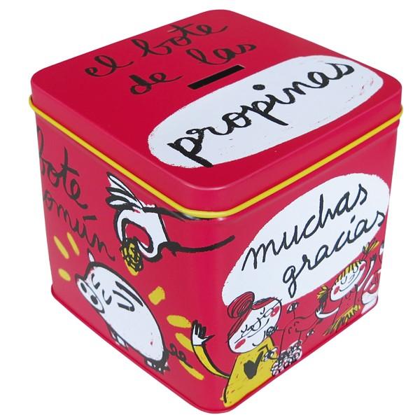 """Caja metálica/Hucha """"El bote de las propinas"""""""