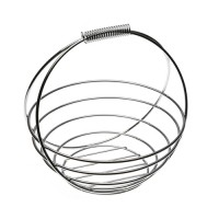 Chromed round fruit bowl with handle 25 x 25,50 cm