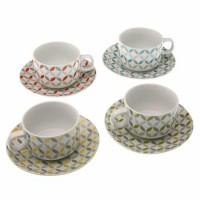 Juego 4 tazas café porcelana decoración geométrica