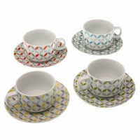 Set 4 cups coffee porcelain geometric decoration