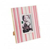 Marco fotos madera rayas blanco y rosas 10x15 cm