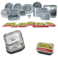 Paquete 5 envases rectangulares de aluminio con tapa de cartón 147x123x40 mm