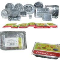 Paquete 2 envases rectangulares de aluminio con tapa de cartón 222x157x38 mm