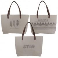 Bolso beige con mensajes smile-pide un deseo-secrets 50x35cm
