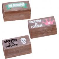 Cajita madera mensajes surtidos secretos de princesa/secretos de pirata/mis secretos