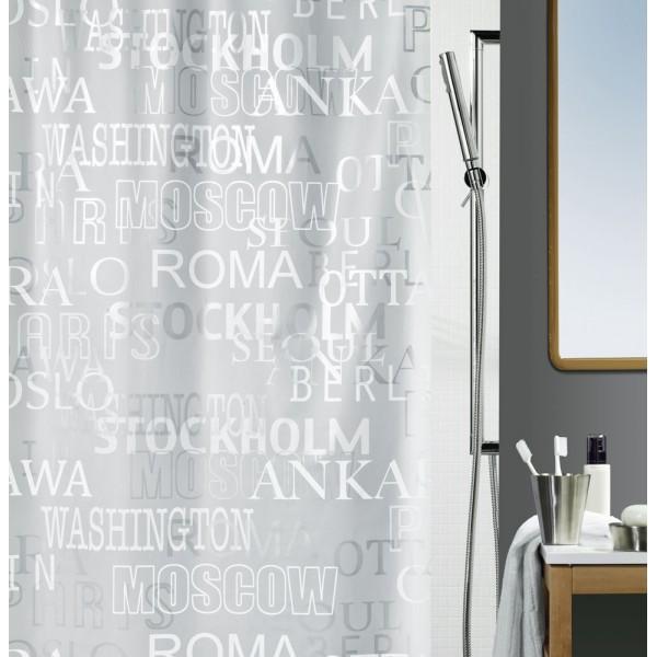 Cortina baño Peva Cities Silver 180x200 cm